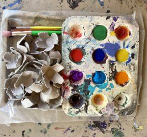 egg carton, painting, flowers, diy