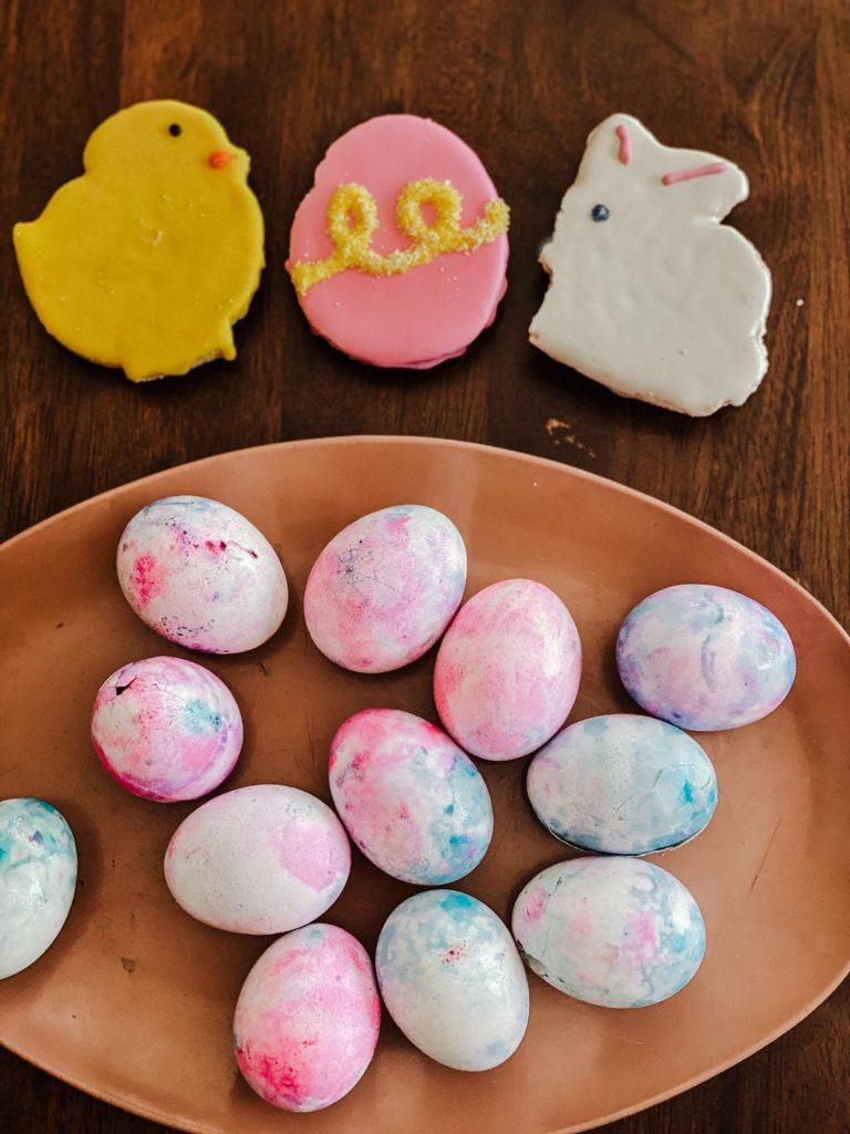 easter eggs, spring, diy eggs, shaving cream eggs