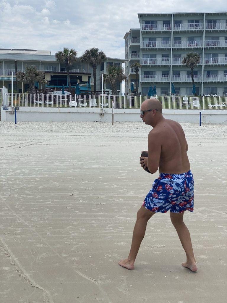 beach, football, family games