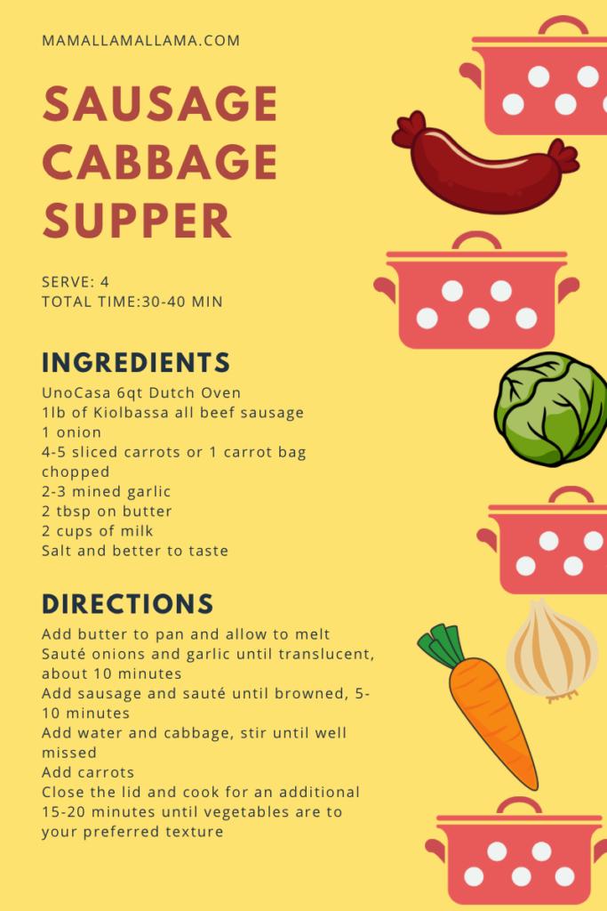 Sausage cabbage supper